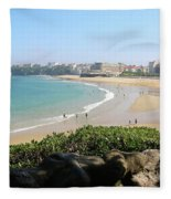 Biarritz Beach Panorama Fleece Blanket
