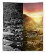 Bible - Psalm 23 - Yea, Though I Walk Through The Valley 1920 - Side By Side Fleece Blanket
