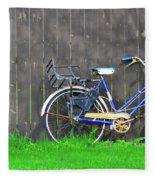Bicycle And Gray Fence Fleece Blanket
