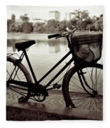 Bicycle By The Lake Fleece Blanket
