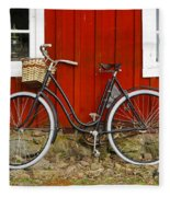 Bicycle In Front Of Red House In Sweden Fleece Blanket