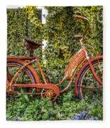 Bicycle In The Garden Fleece Blanket
