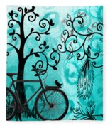 Bicycle In Whimsical Forest Fleece Blanket