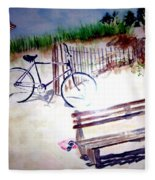 Bicycle On The Beach Fleece Blanket
