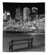 Bicycle On The Plein At Night - The Hague  Fleece Blanket