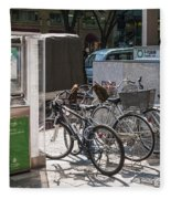 Bicycle Parking And Smoking Station In Tokyo Japan Fleece Blanket