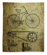 Bicycle Patent  1890 Fleece Blanket