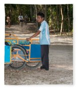 Bicycle Taxi Inside The Coba Ruins  Fleece Blanket