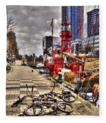 Bicycles In Rotterdam, Netherlands Fleece Blanket