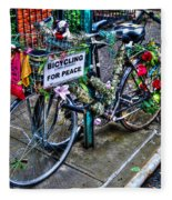 Bicycling For Peace Fleece Blanket