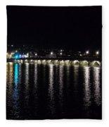 Bideford Long Bridge At Night Fleece Blanket