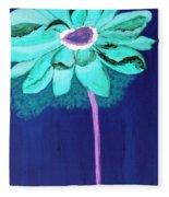 Big Aqua Flower Fleece Blanket