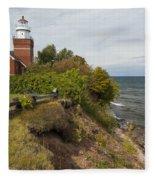 Big Bay Point Lighthouse 2 Fleece Blanket