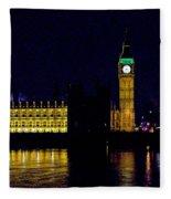 Big Ben Along The Thames Fleece Blanket