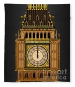 Big Ben Striking Midnight Fleece Blanket