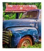 Big Blue Chevy At The Farm Fleece Blanket