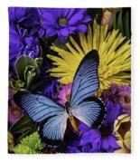 Big Blue Wings Fleece Blanket