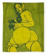 Sexy Green Woman  Fleece Blanket