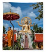 Big Buddha Temple Fleece Blanket