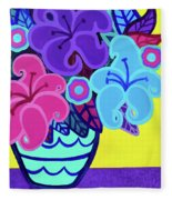 Big Colorful Lillies Fleece Blanket