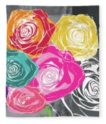 Big Colorful Roses 2- Art By Linda Woods Fleece Blanket