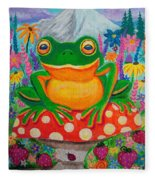 Big Green Frog On Red Mushroom Fleece Blanket