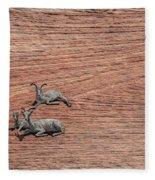Big Horned Sheep Of Zion Fleece Blanket