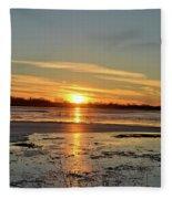 Big Marsh Sunset 4 Fleece Blanket