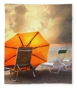Big Orange Beach Umbrella Watercolor Painting Fleece Blanket