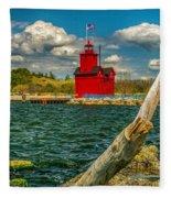 Big Red Lighthouse In Michigan Fleece Blanket