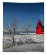 Big Red Lighthouse In Winter Fleece Blanket