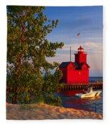 Big Red Lighthouse Fleece Blanket