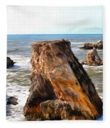 Big Rocks In Grey Water Painting Fleece Blanket