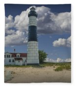 Big Sable Lighthouse Under Cloudy Blue Skies Fleece Blanket