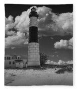 Big Sable Lighthouse Under Cloudy Skies Fleece Blanket