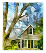 Big Tree Standing Tall In The Front Yard Fleece Blanket