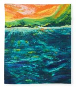 Big Tropical Wave Fleece Blanket