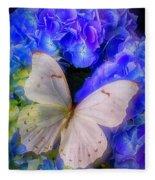 Big White Butterfly Fleece Blanket