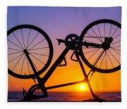 Bike On Seawall Fleece Blanket