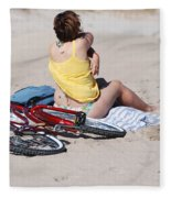 Bike On The Beach Fleece Blanket