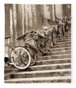 Bike Stairs Zurich Fleece Blanket