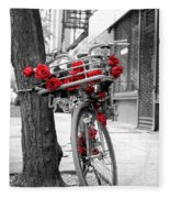 Bike With Red Roses Fleece Blanket