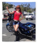 Biker Girl. Model Sofia Metal Queen Fleece Blanket