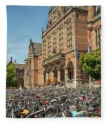 Bikes In Front Of Dutch University Fleece Blanket