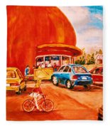 Biking Past The Orange Julep Fleece Blanket