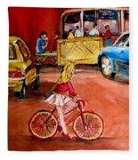 Biking To The Orange Julep Fleece Blanket
