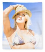 Bikini Lady Against Blue Sky Background Fleece Blanket