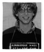 Bill Gates Mug Shot Vertical Black And White Fleece Blanket