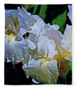 Billowing White Irises Fleece Blanket