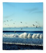 Billowing White Waves And Seagulls Fleece Blanket
